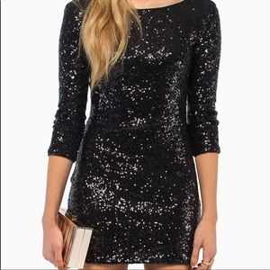 Tobi Black Sequin Bodycon Dress